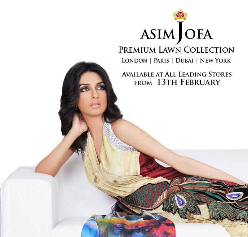 Asim Jofa Cotton Lawn Prints 2012, embroidered fabric
