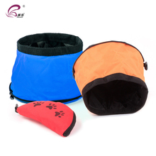Factory hot sale portable oxford folded dog travel bowl