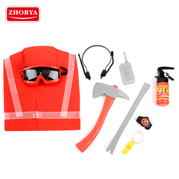 zhorya kids pretend fireman suit and tool set toy with toy fire extinguisher and accessories