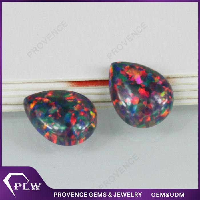 Factory Price Wholesale Pear Shape Synthetic Rough Black Opal