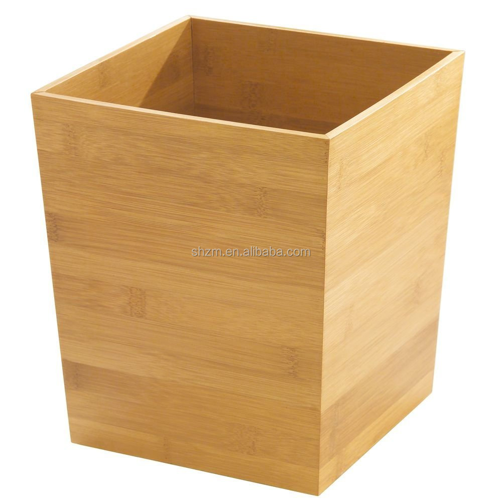 Natural Bamboo Bathroom Collection Waste Basket Perfect Bedroom Trash Can For Bathroom Accessories