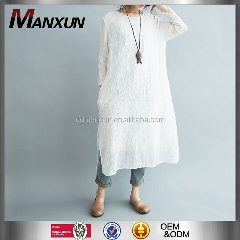 Designer Clothing Manufacturers In China Wholesale White Dress Chic Long Sleeve Dress Fashion Korean Cotton Linen Dress