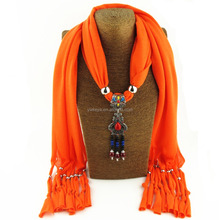 wholesale 2017 Lady Jewelry Scarf Charms Gemstone Pendant Scarves 22 colors