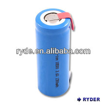 Lithium Ion 3.6v battery 18650 18500-1300mAh with tabs rechargeable