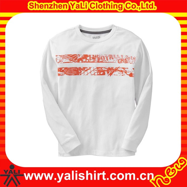 High quality bulk printed o-neck long sleeve cotton customized rugby top tee white t-shirts