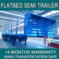 Flatbed Semi Trailer For Bulk Products Container Transportation Made From Carbon Steel With 50 Ton Three Axles FB092