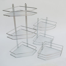 Chrome wire metal bathroom corner shelves, corner shelves for bathroom