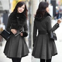 D60365A KOREAN WOMEN AUTUMN AND WINTER FUR COLLAR PLEATED GRAY AND BLACK CLASSIC LETHER WAIST WOOLEN COAT