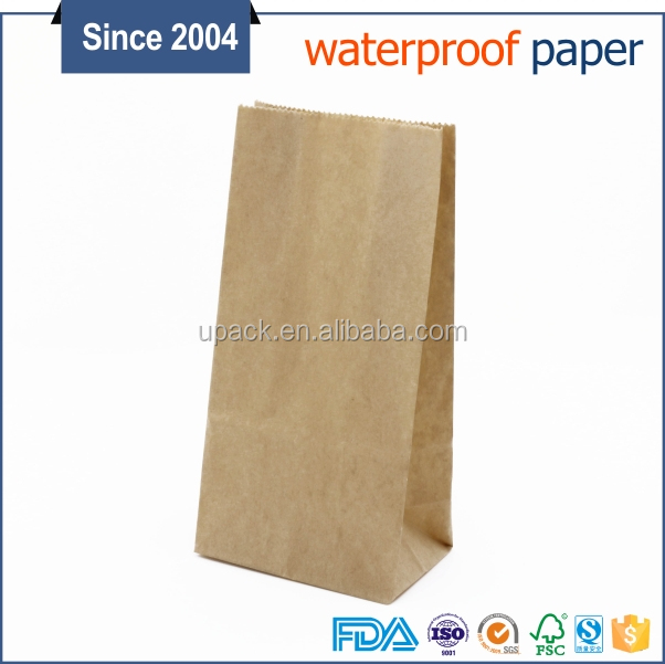 Food grade block bottom brown export kraft paper bags for crafting