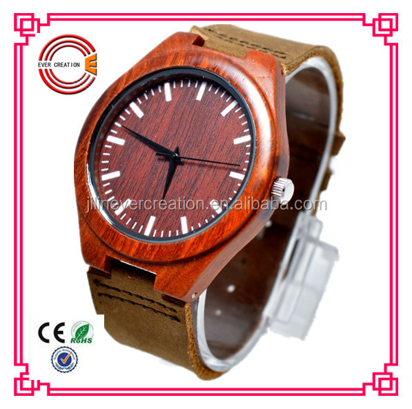 red sandal wood watch leather strap fashion