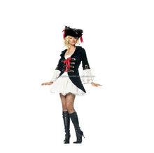 2015 Hot Sale adult pirate costume sexy ship captain costume for halloween party AGC2118