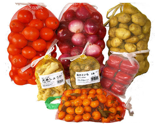 Wholesale plastic fruit monofilament mesh drawstring bag