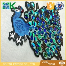 Diy Hot Sale bling embroidery sew on peacock design sequined Applique