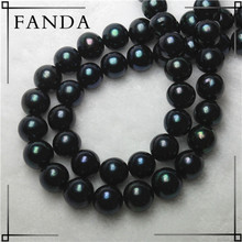 Black Fresh water pearl strands wholesale/black pearl for making jewelry