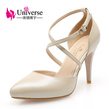 C001 Sexy Ladies Dress Shoes Thin Heel Pumps Cross Strap China Women Shoes