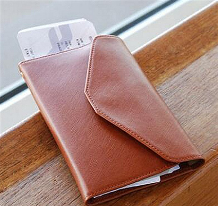 Fashion korean multi-function business id card holder wallet leather tavel passport holder