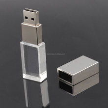 Promotional LED light up laser engraving logo inside 8GB 16GB crystal USB Flash Pen Drive
