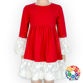 Plain Red Dress With White Lace Long Sleeve Cotton Frocks One Piece Baby Girls Party Dresses