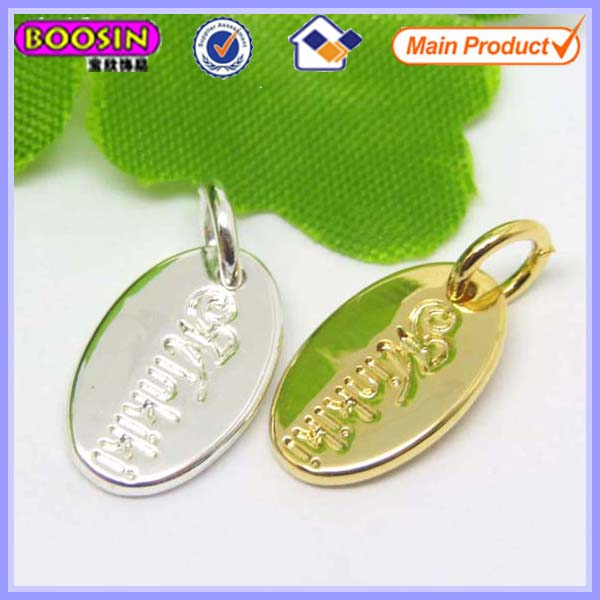 Custom jewelry oval brand logo metal tag in personal design #13775