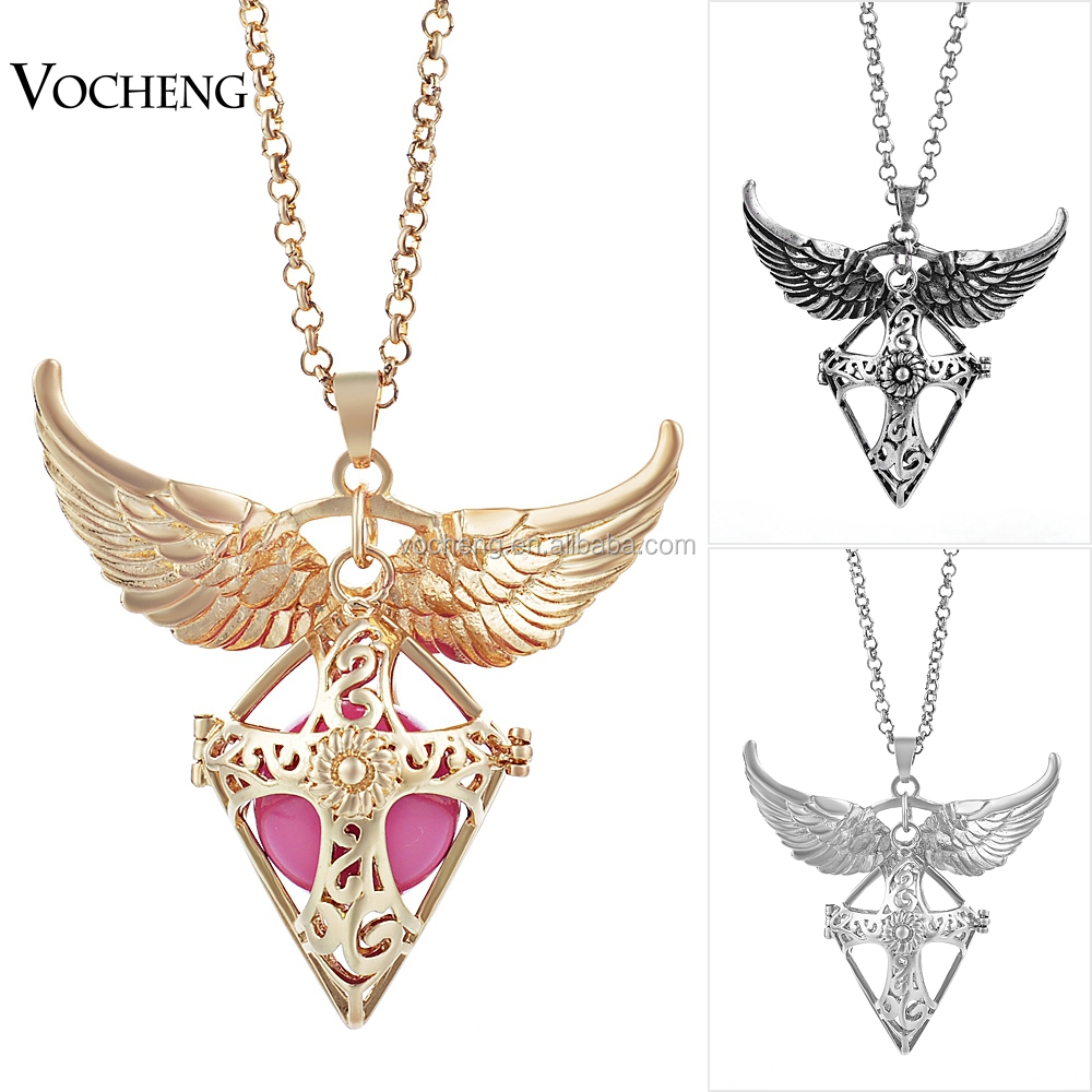 10pcs/lot Hollow Crosses Jewelry Angel Wing Accessories Long Pendant Necklace Chime Pendant for Women (VA-099) Free Shipping