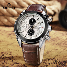 Top brand megir 2020 genuine leather men quartz sports military watches men
