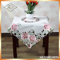 Rosette luxury satin embroidered table cloth