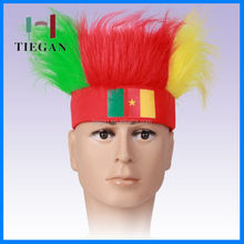 30g Elastic hats with hair attached football sports fans wig