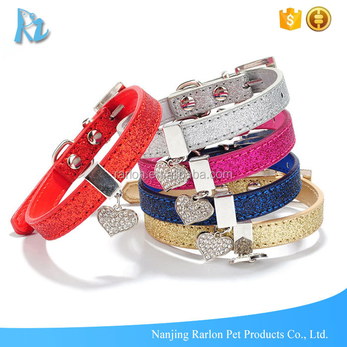 Bling Shine Thin Leather Puppy Dog Collar With Rhinestone Charm