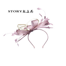western fashion elegant feather woman hair accessory flower sinamay fascinator