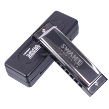 SWAN SW1020H-1 10 Hole 20 Tone Senior Blues Stainless Steel Cover Plate Square Harmonica