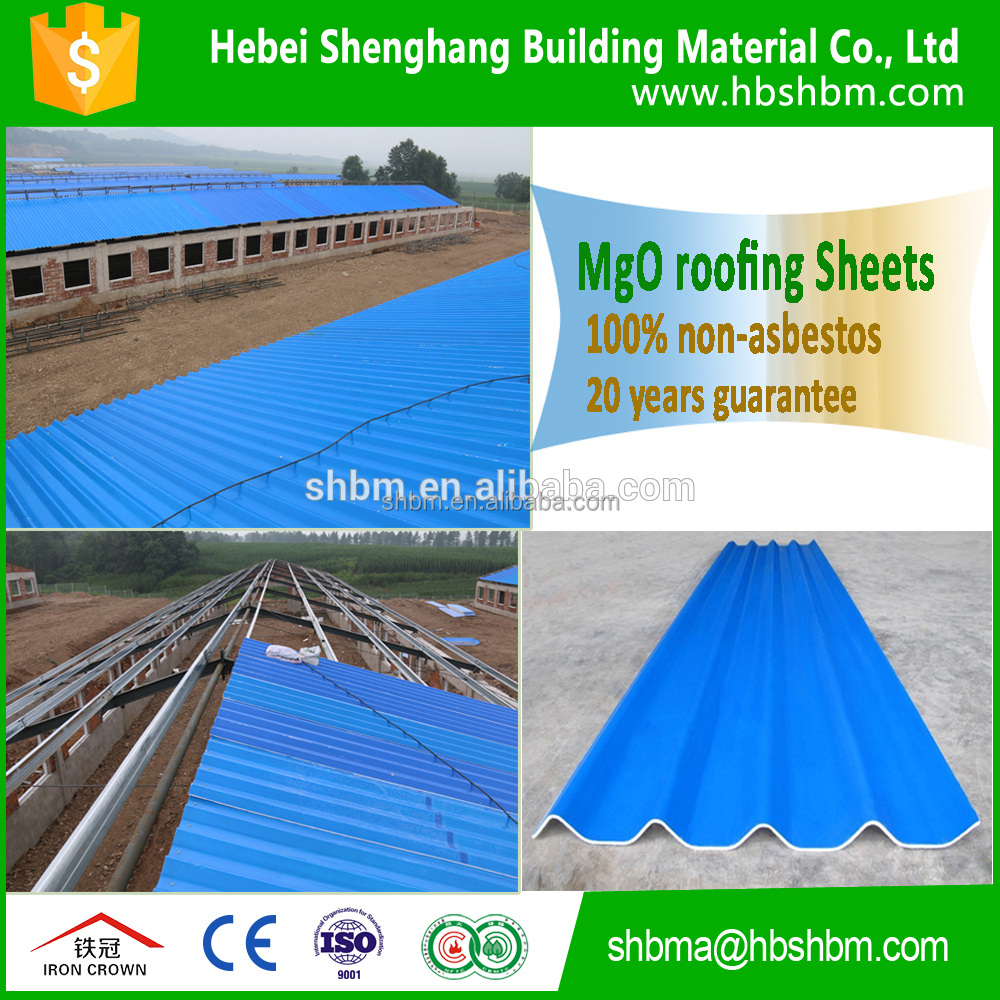 Beautiful surface with colorful Pet membrane fiber glass mgo roofing tile