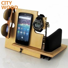 wood phone tablet charging station with desk organizer