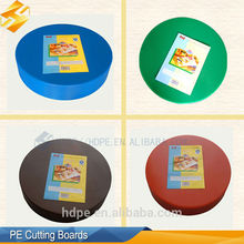 High quanlity China plastic PE round color chopping board with holes