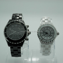 Mixed ceramic and stainless steel small hands quartz watches