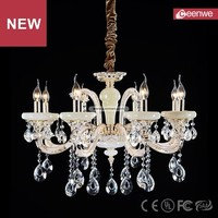 New European Classical Villa Gold 8 lights Zinc alloy Crystal Natural Jade chandelier crystals pendant light