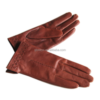 embroidered cuff top goat skin women gloves