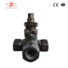 cast gery iron screw thread three way plug cock valve