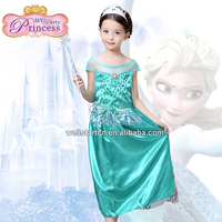 Free Shipment for girl frock dress 2015, new princess frock design dress custom made elsa dress cosplay costume for party