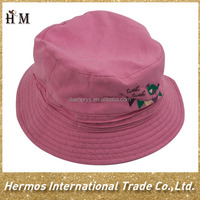 Custom made folding cotton fishing hats kids pink cotton bucket hat for girls