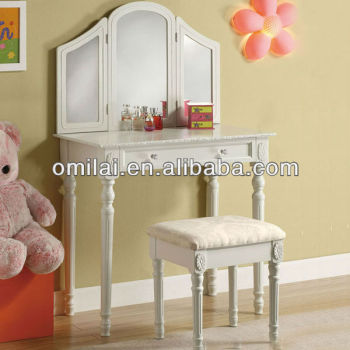 modern dressing table with mirrors with stool