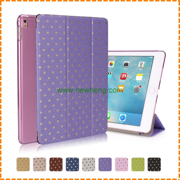 New Product Bling Star Pattern Tri Fold stand pu leather Tablet cover case for Ipad air 2