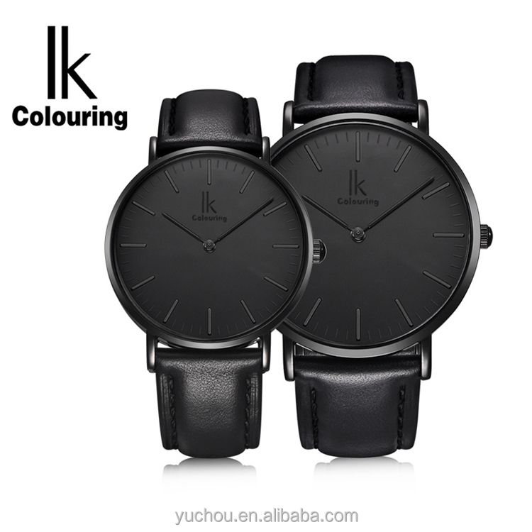 IK colouring leather quartz gift valentine couple watches