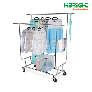 Portable double bar garment clothing display rack for retail store