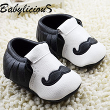 New fashion Moustache leather baby moccasins soft sole baby shoes for girls boys