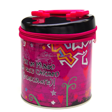 Wholesale cookie biscuit zipper round metal tin box with handle