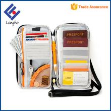 Multifunction rfid blocked travel key card money document passport wallet with side grip & neck / shoulder strap & pen loop