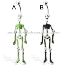 Sexy wholesale crazy skeleton shape 316L stainless steel chain dangle belly ring navel piercing body jewelry