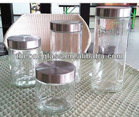storage glass candy jar with metal lid