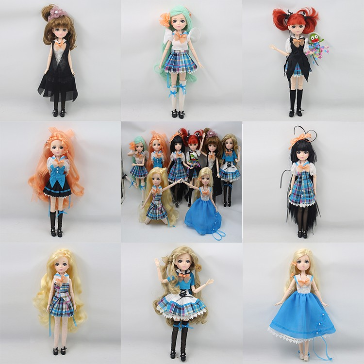 (YW-XJ161200) DBS toys plastic jointed dress up campus school custom doll