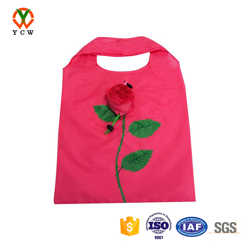 Rose shape collapsible foldable non-woven plastic custom reusable shopping bag